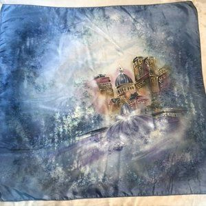 Hand Painted Large Silk Scarf - Fairytale Cityscape